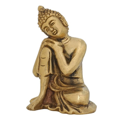 religious gifts brass metal art thinking buddha statue buddhist d cor 4 inches. Black Bedroom Furniture Sets. Home Design Ideas