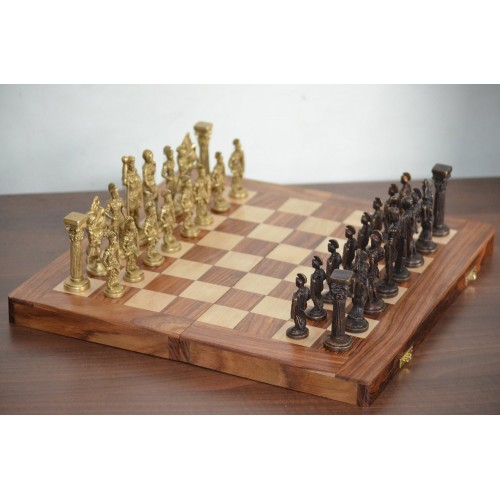 Collectible Greek and Roman Brass Handcrafted Chess Pieces with ...